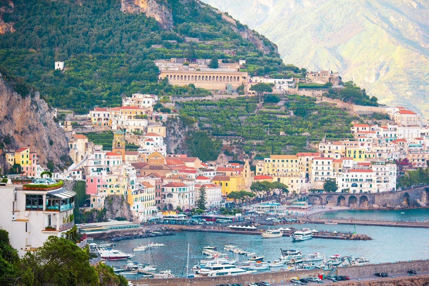 Coastal Mountain Town In Italy: Stock Photos