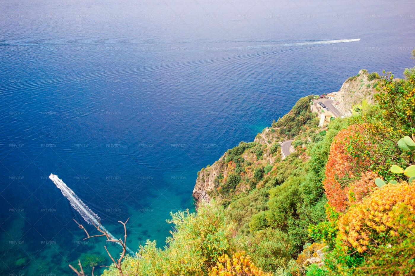 Boats Off The Amalfi Coast: Stock Photos