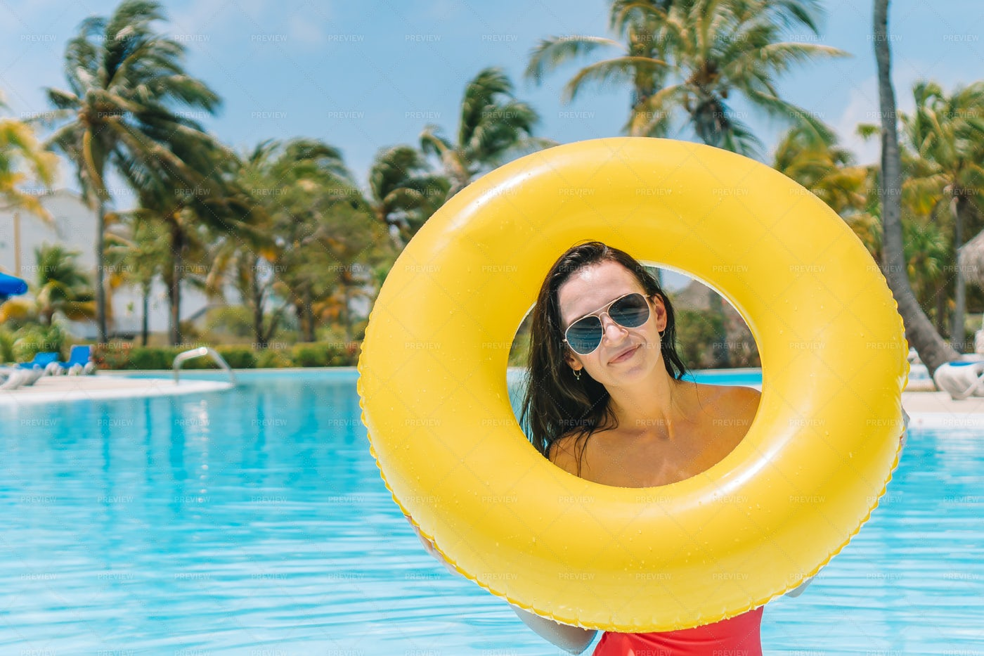 Yellow Pool Float: Stock Photos