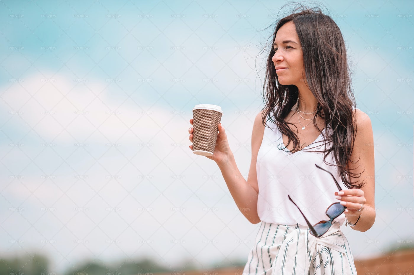 Walking Outdoors With Coffee: Stock Photos