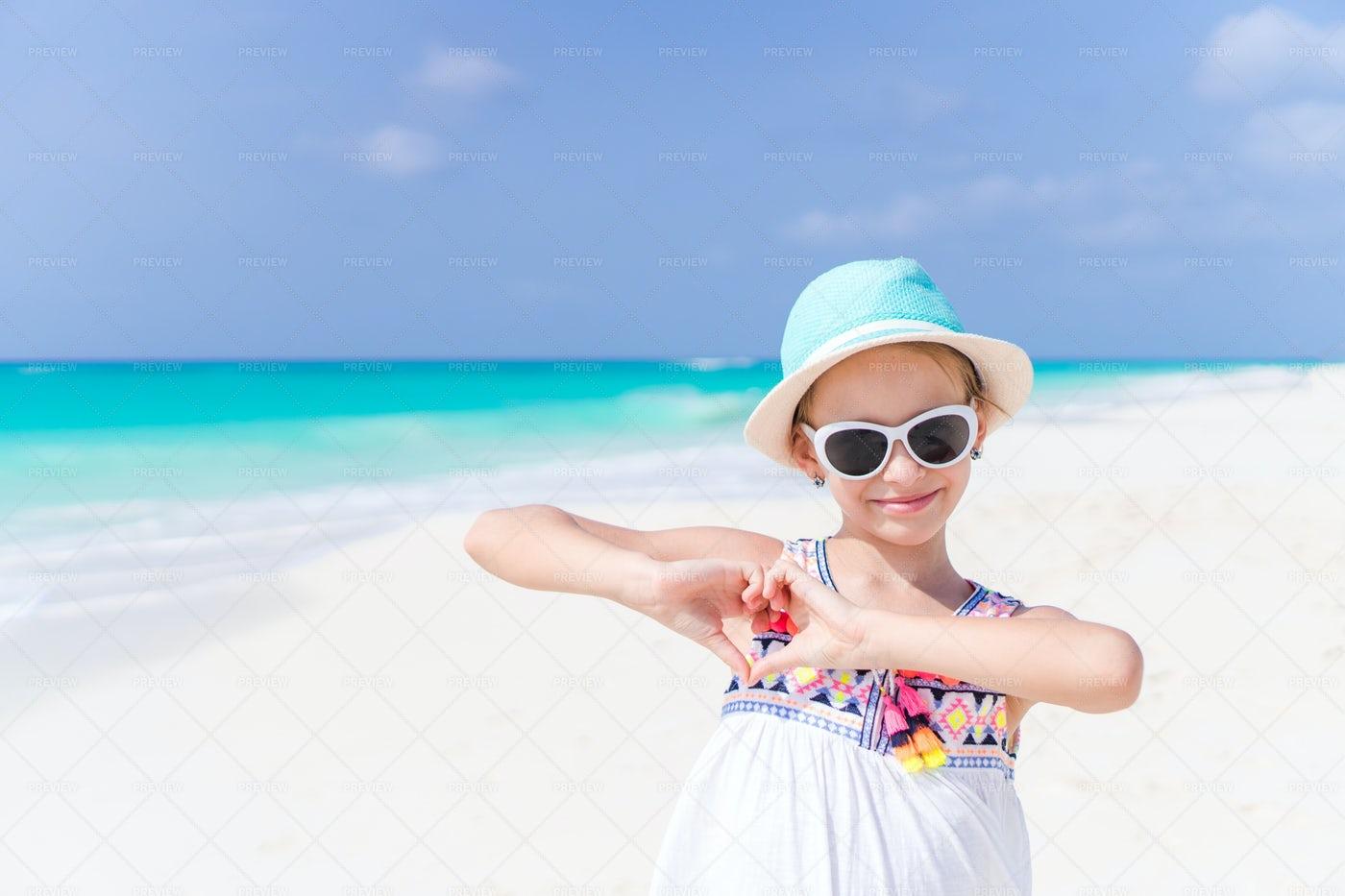 Beach Heart Gesture: Stock Photos
