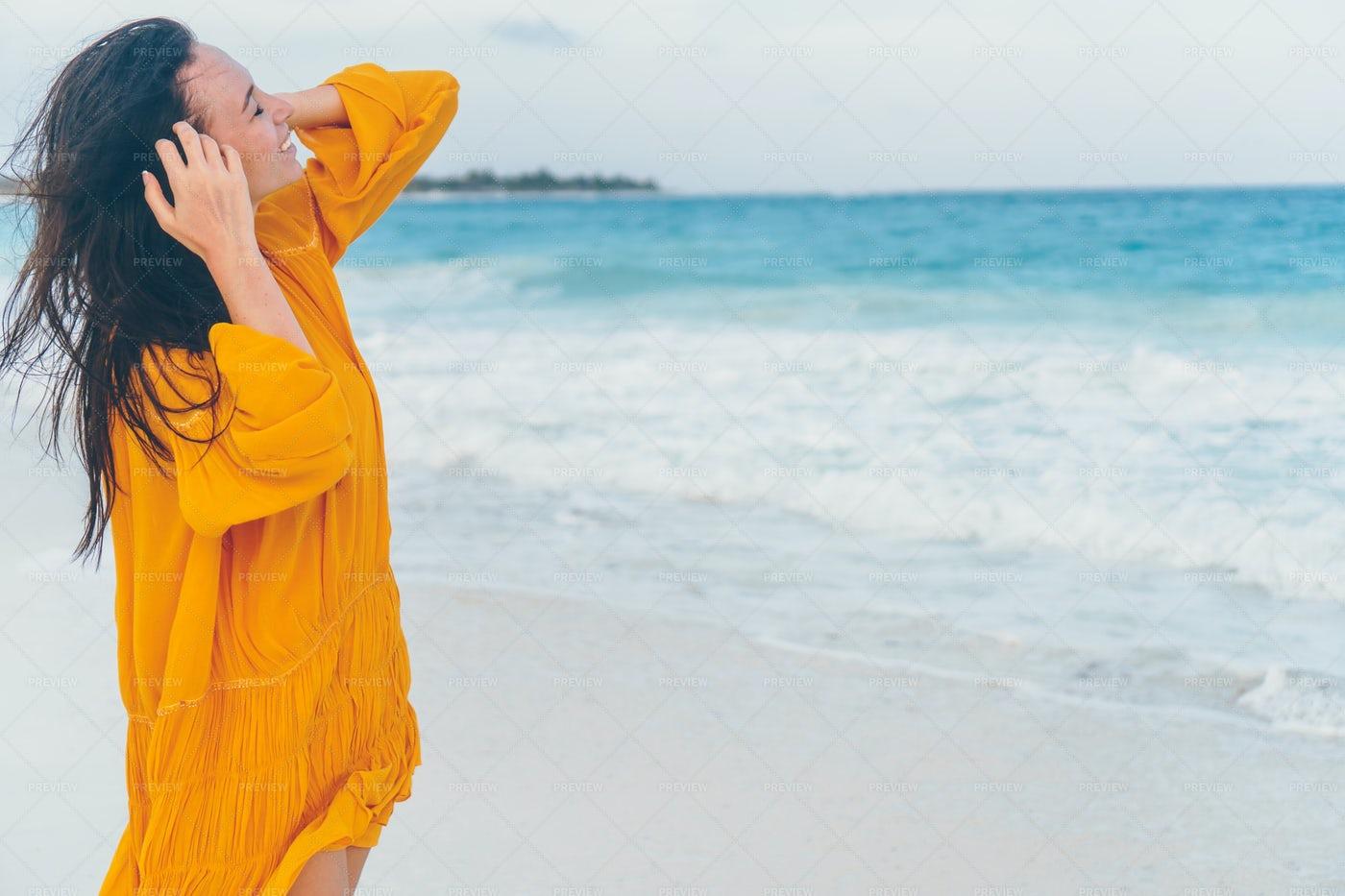 Enjoying The Beach Breeze: Stock Photos