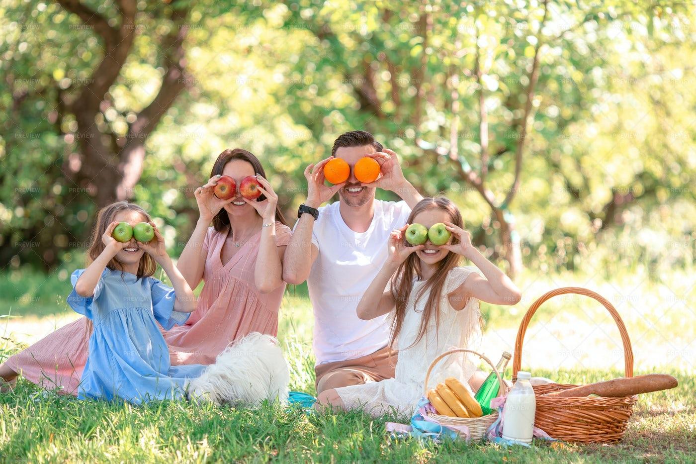 Funny Family Has A Picnic: Stock Photos