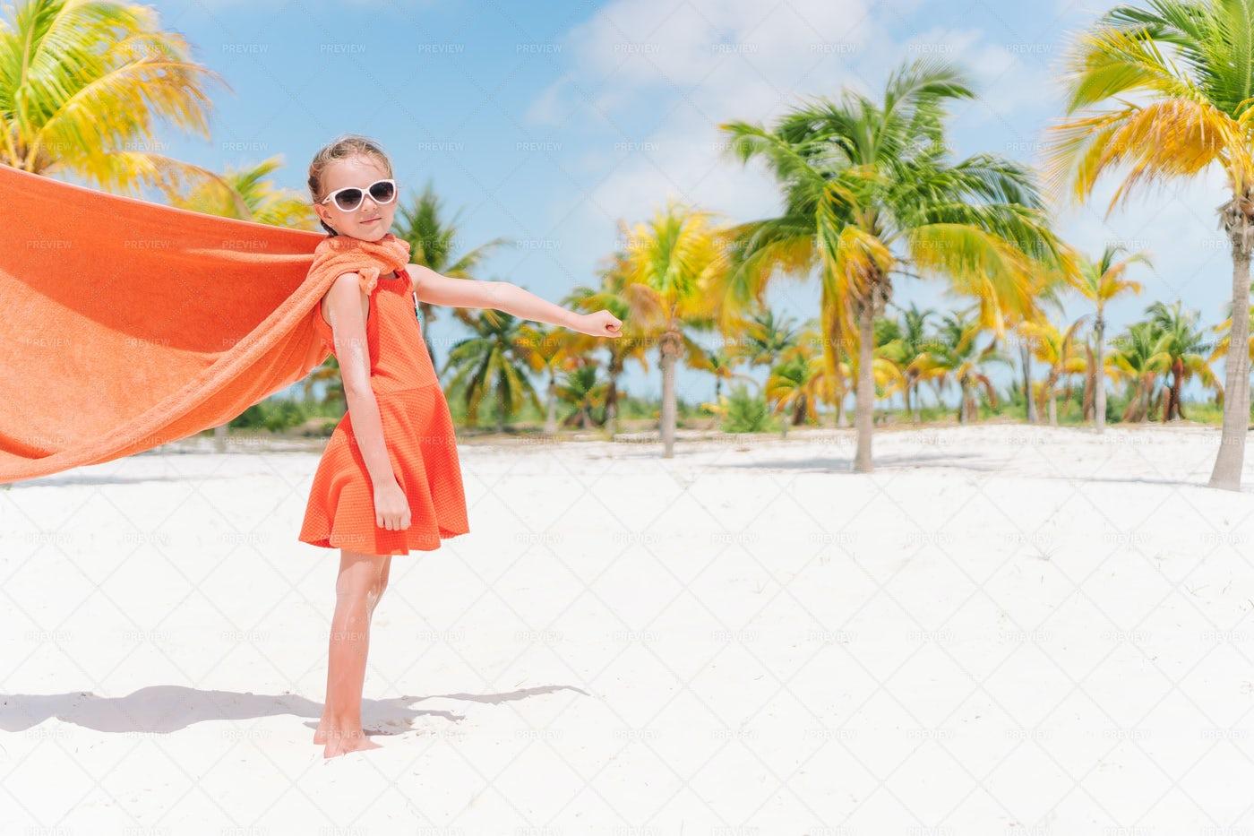 Child Superhero On Beach: Stock Photos