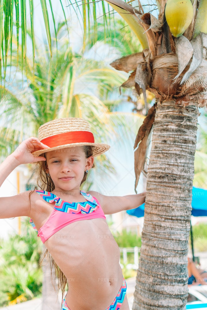 Kid Hangs Off Palm Tree: Stock Photos