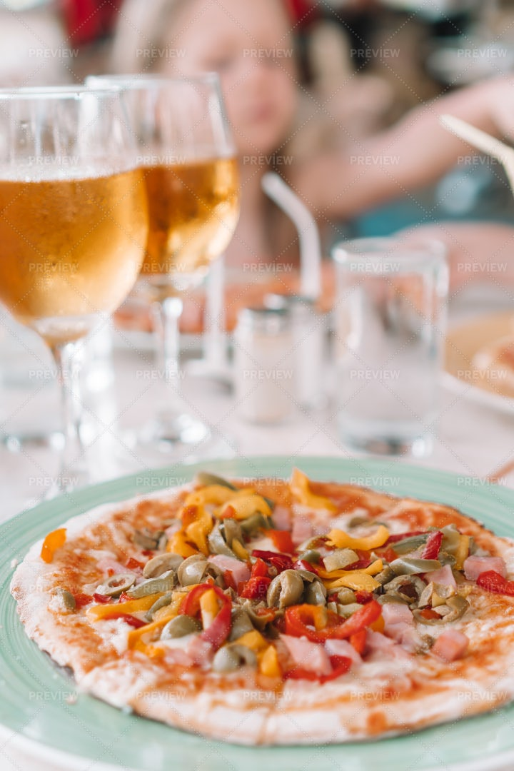 Pizza And Beer: Stock Photos