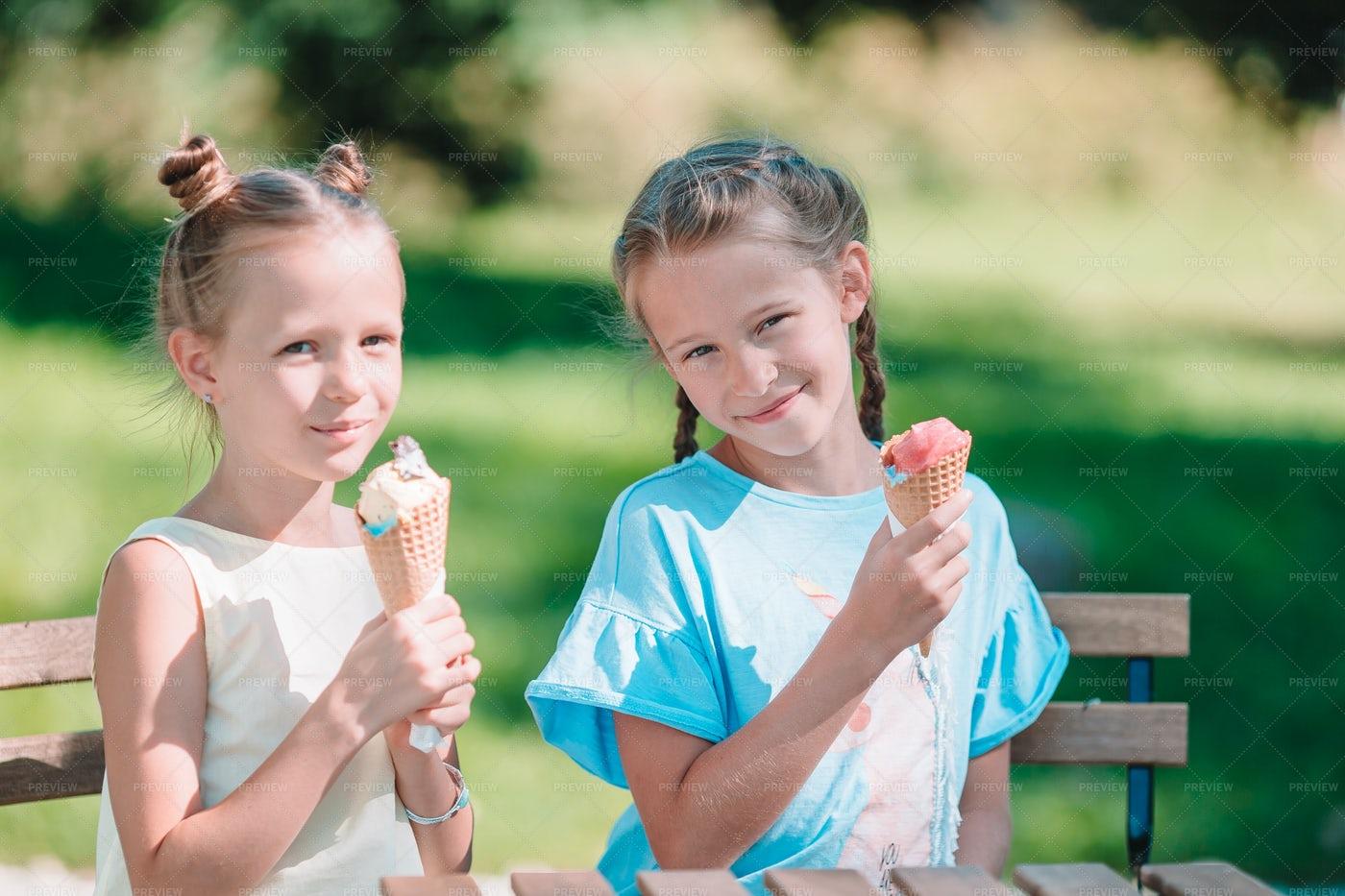 Girls Eating Ice Cream: Stock Photos