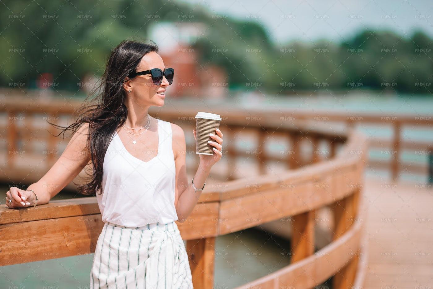 Woman On A Bridge: Stock Photos