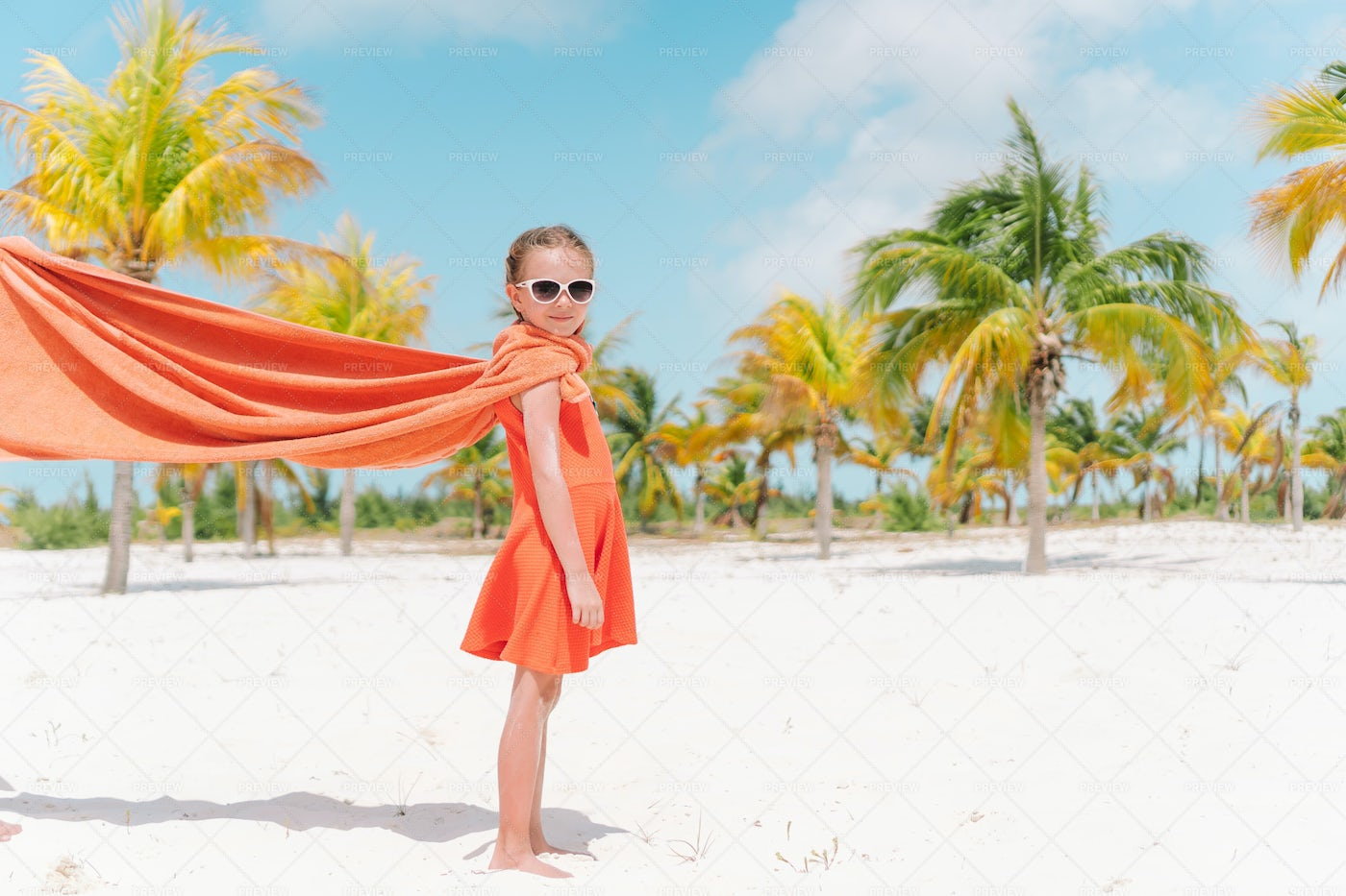Kid With A Towel Cape: Stock Photos
