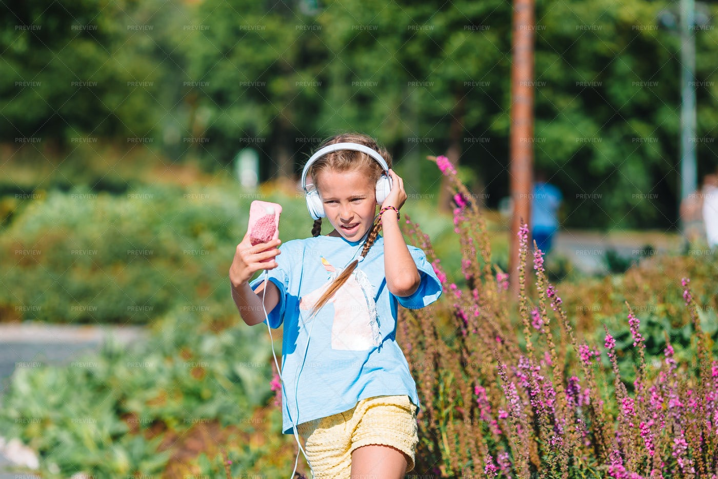 Teen Listens To Music: Stock Photos