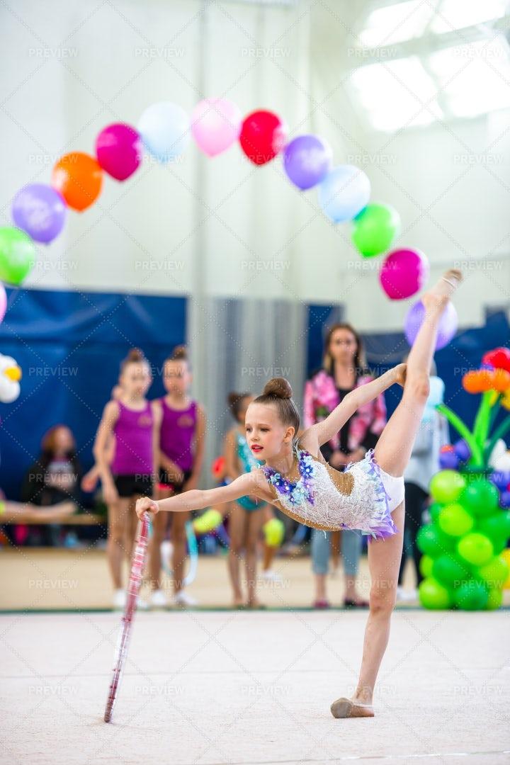 Little Gymnast Training: Stock Photos