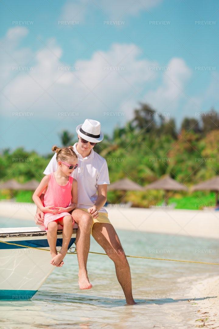 Family On Boat Edge: Stock Photos