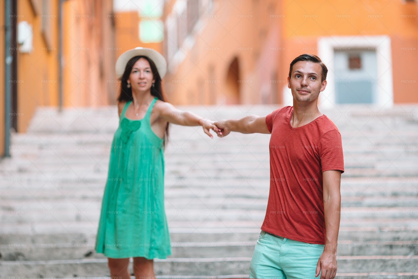 Couple Beside The Steps: Stock Photos