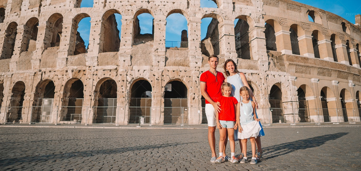 Happy Family In Europe.: Stock Photos