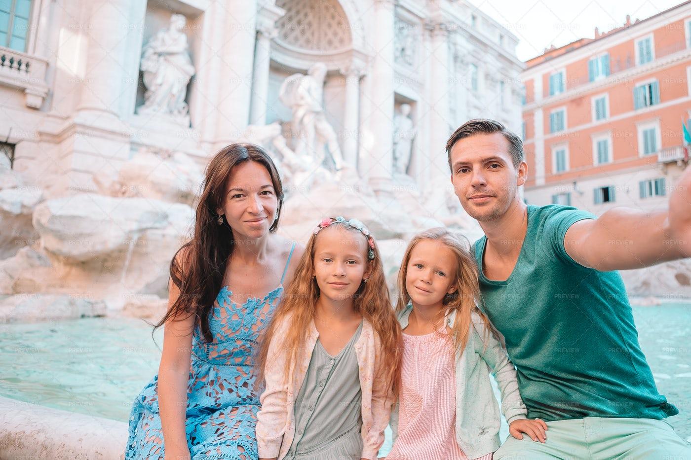 Family At Trevi Fountain: Stock Photos
