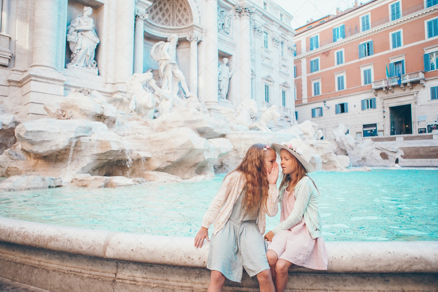 Sisters At The Fountain: Stock Photos
