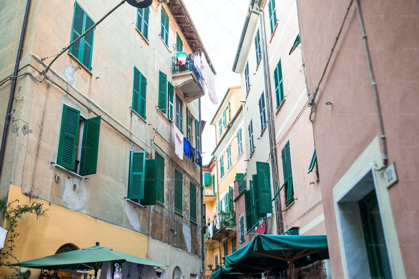 Green Shutters On Italian Buildings: Stock Photos