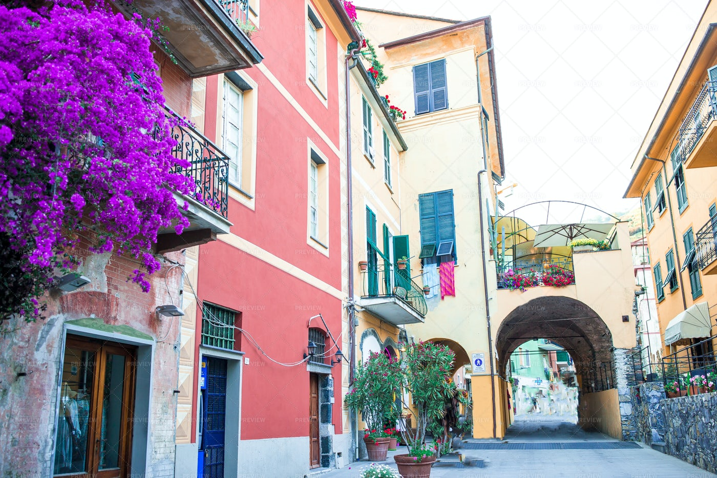 Colorful Streets Of Cinque Terre: Stock Photos