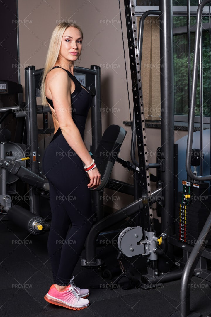 Woman Near Gym Equpiment: Stock Photos
