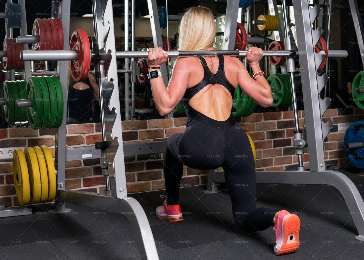 Woman Doing Lunge Squats: Stock Photos