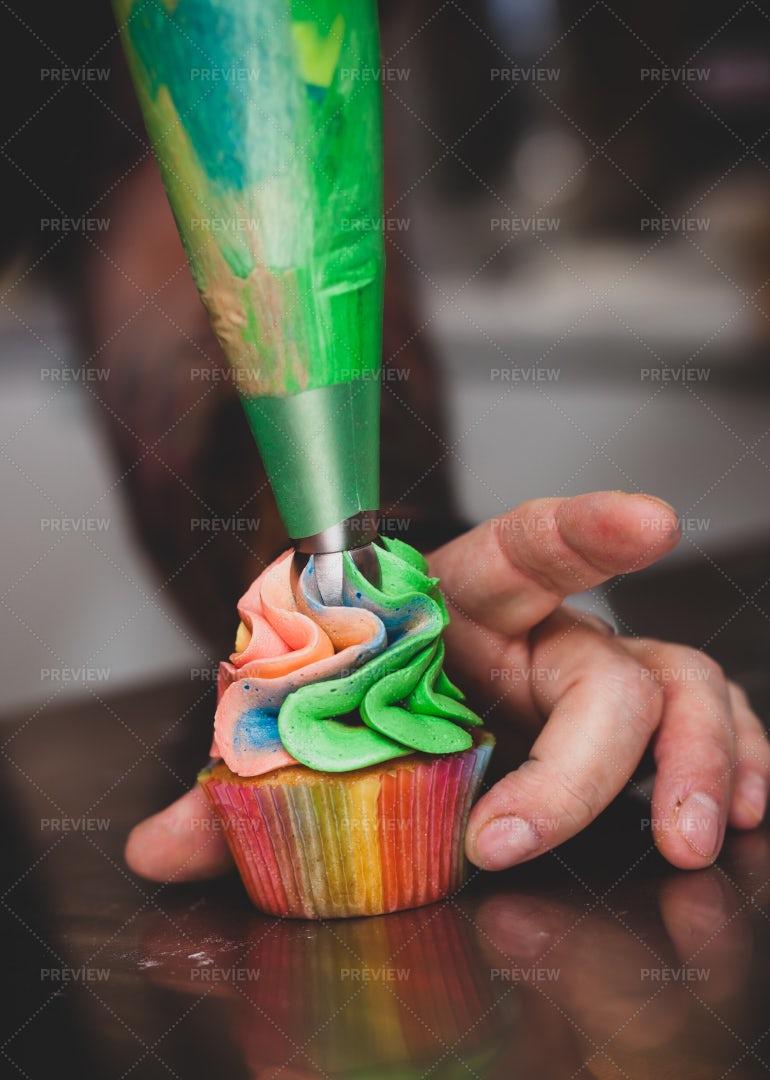 Preparation Colorful Cupcake: Stock Photos
