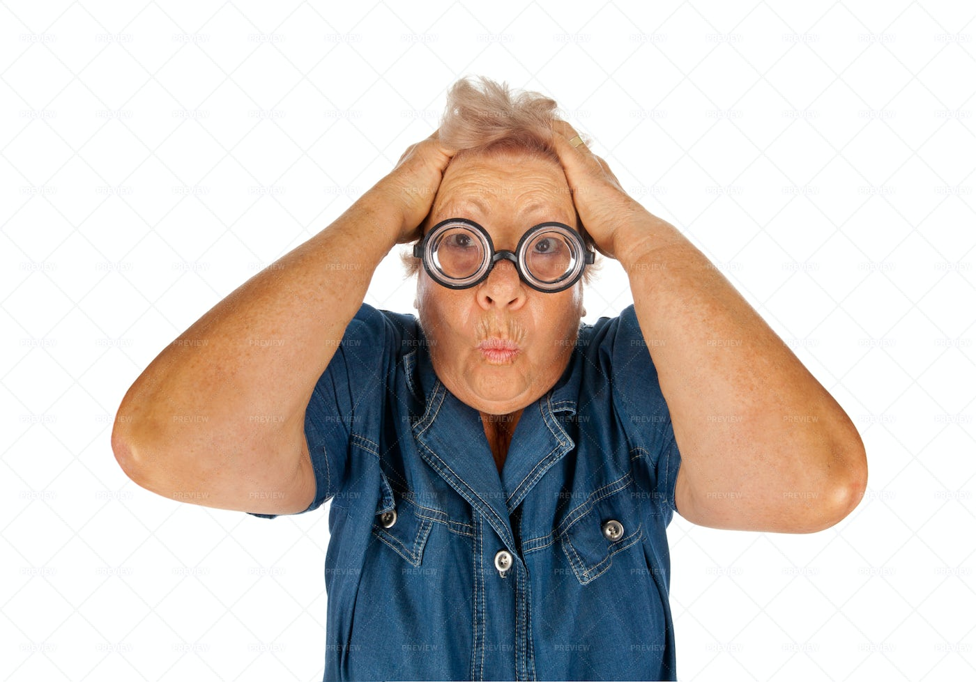 Elderly Woman With Funny Glasses: Stock Photos