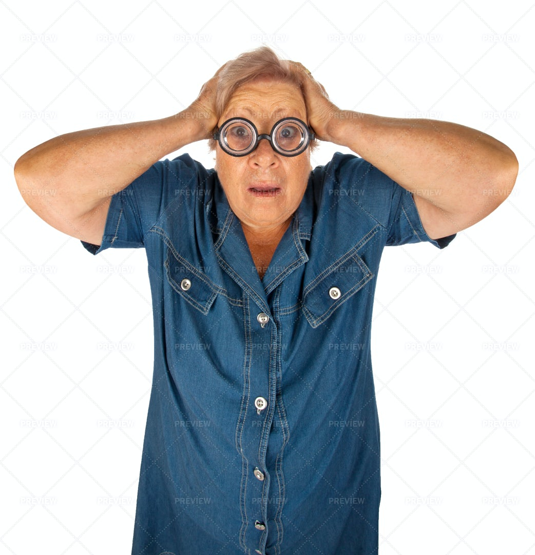 Elderly Woman With Surprised Expression: Stock Photos