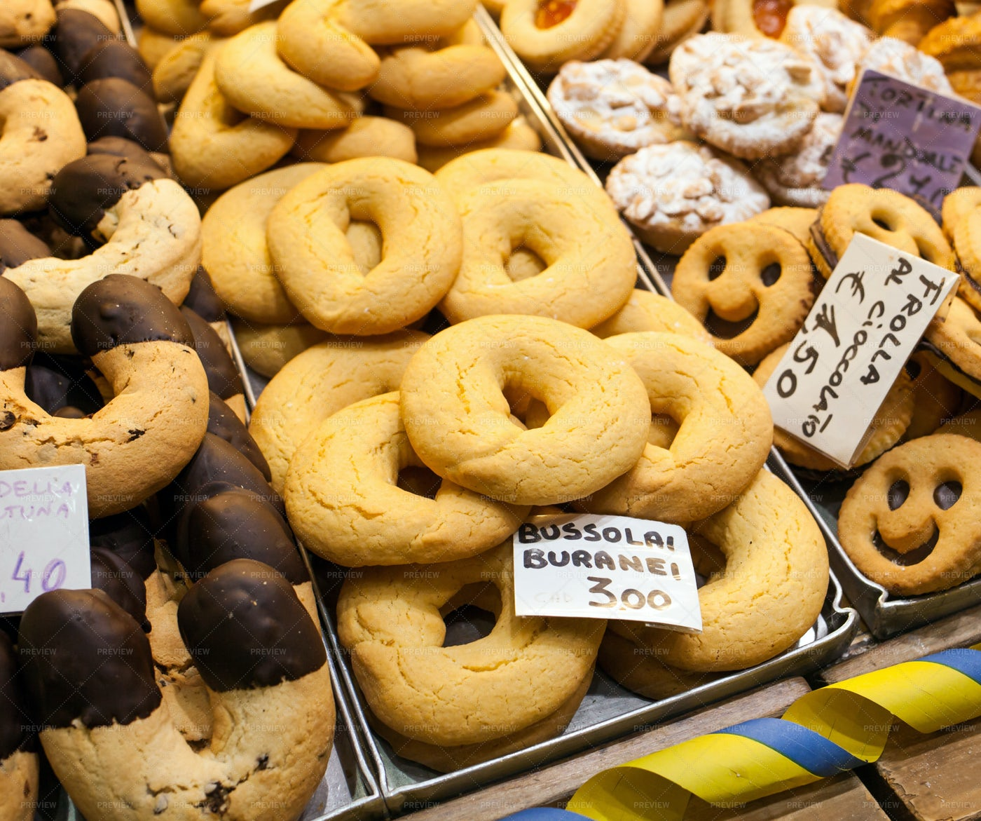 Bussolai Cookies On Display: Stock Photos