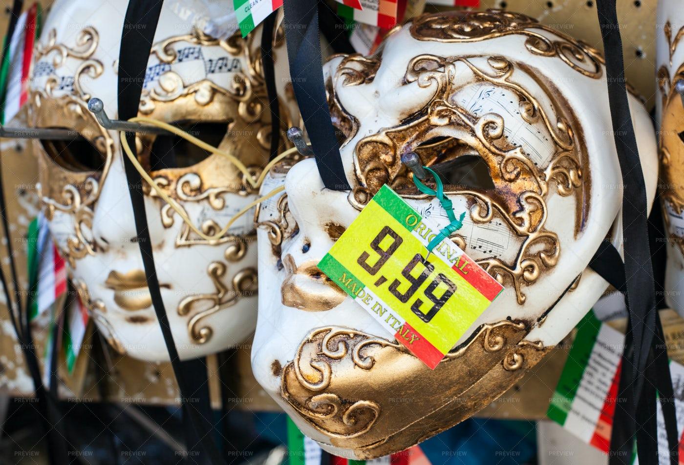 Venetian Masks For Sale: Stock Photos