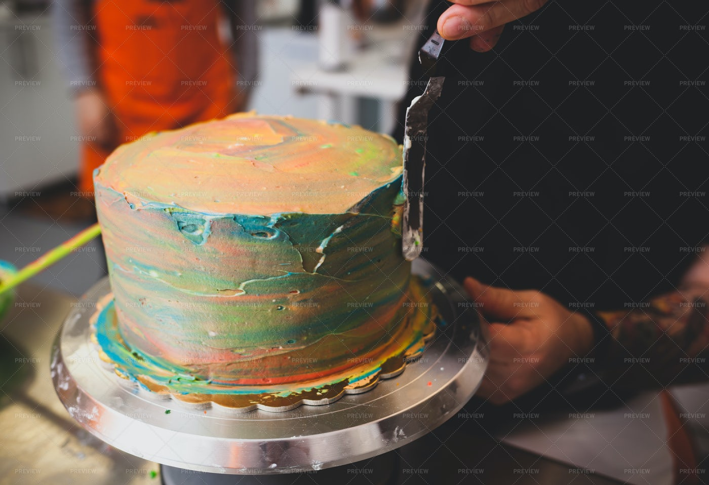 Colorful Buttercream Frosting: Stock Photos