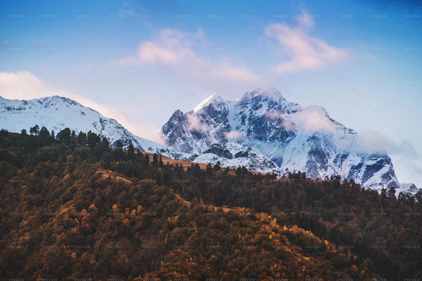 Snowy Peaks Of Autumn Mountain: Stock Photos