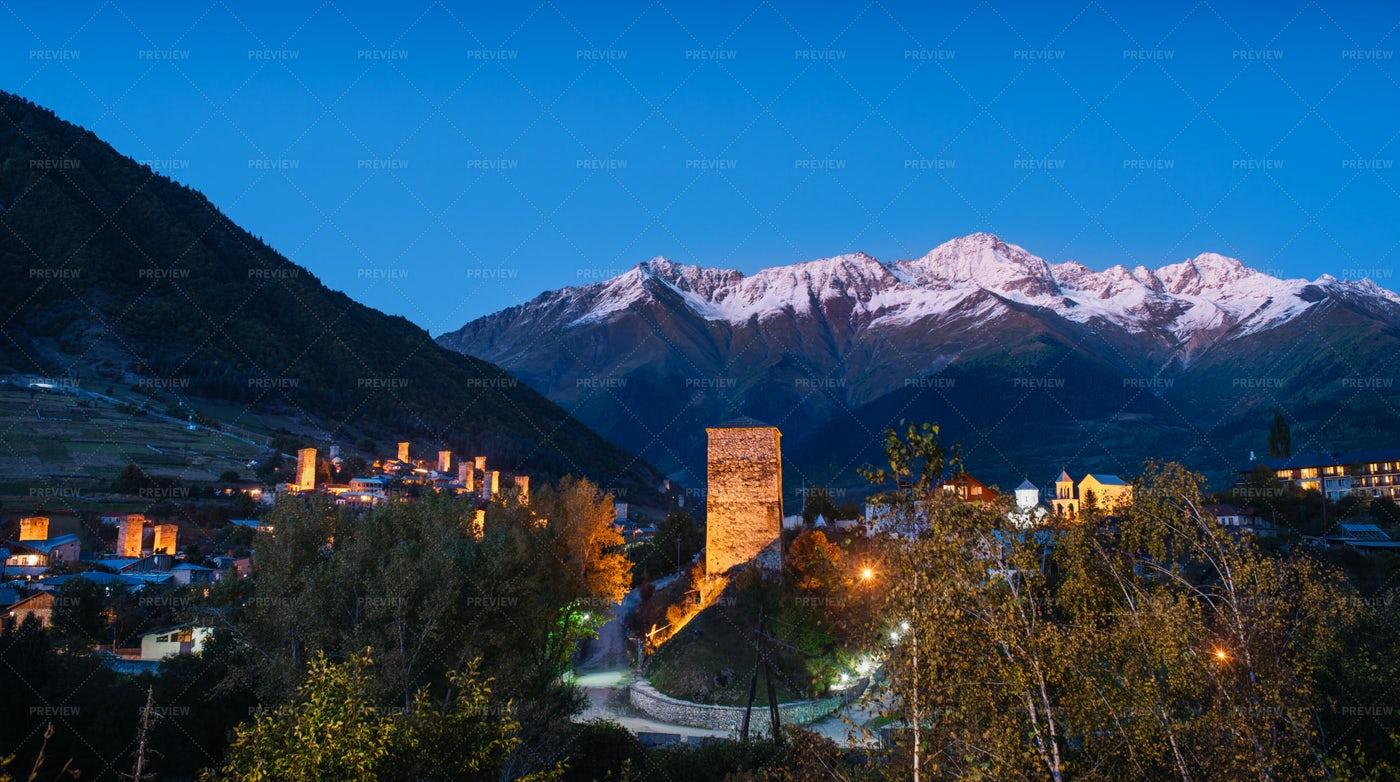 Old Mountain Village Of Mestia: Stock Photos