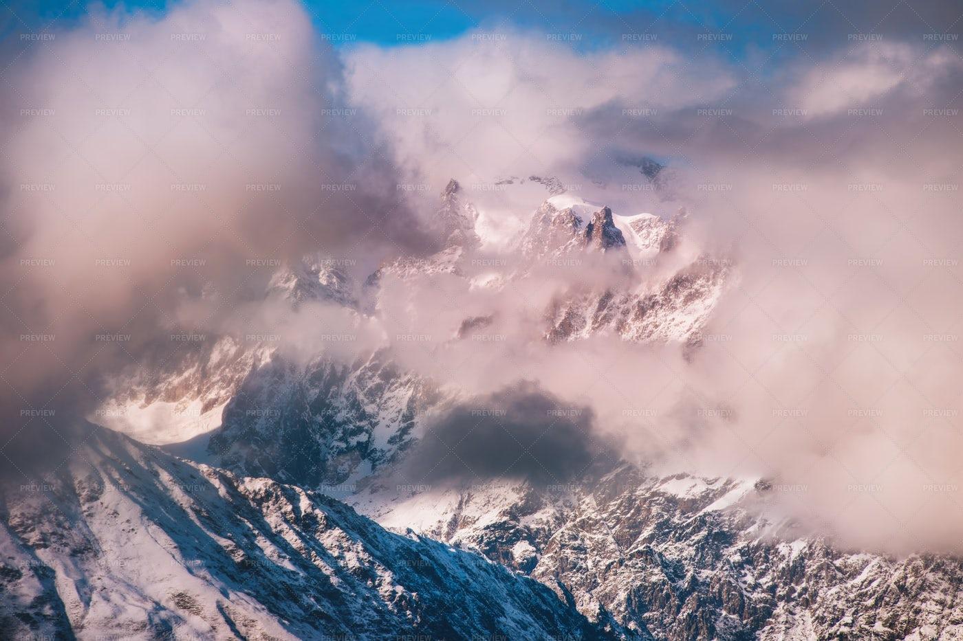 Clouds Blanket Caucasus Mountains: Stock Photos