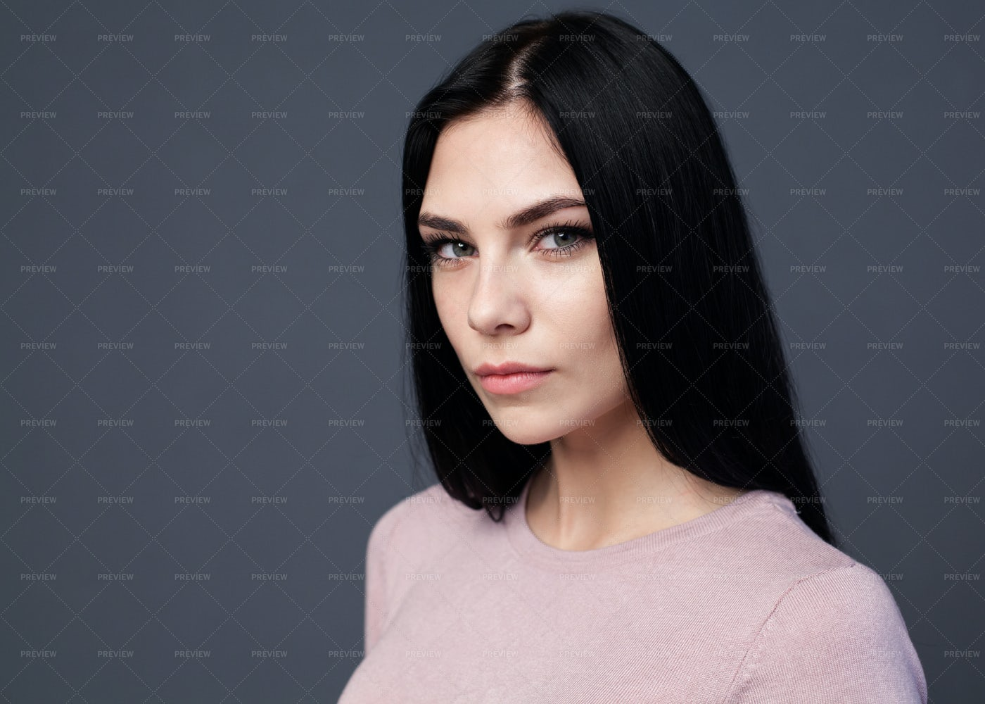 Woman With Long Black Hair: Stock Photos