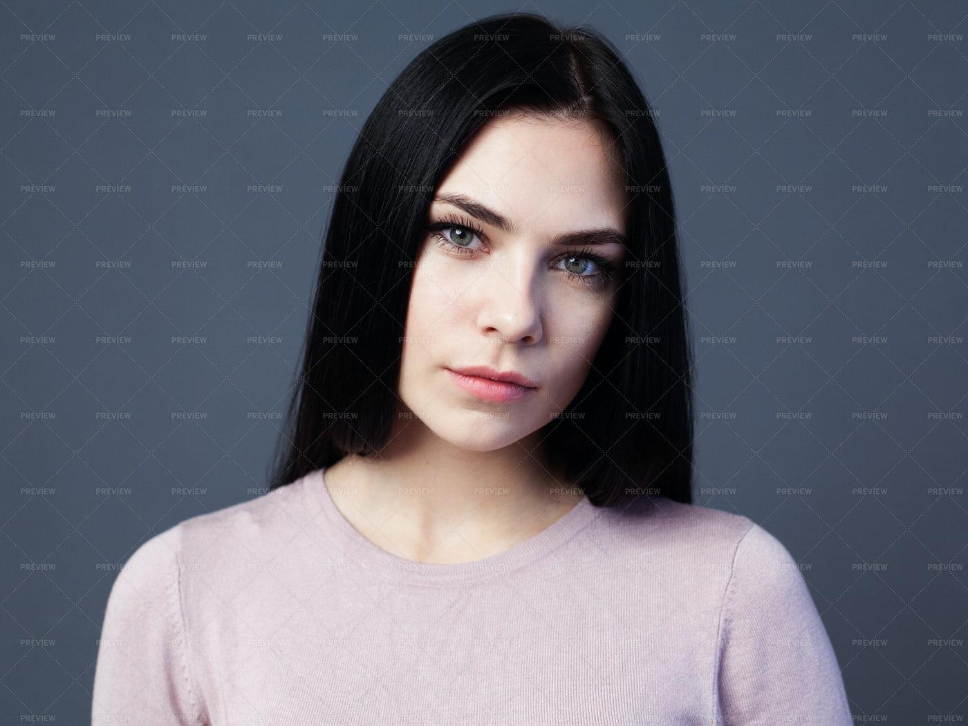 Woman With Black Hair: Stock Photos