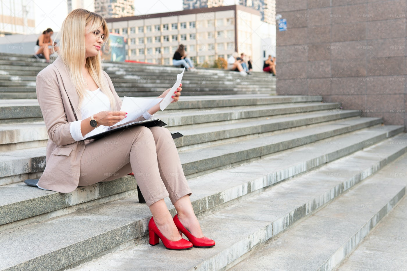Reading On The Steps: Stock Photos