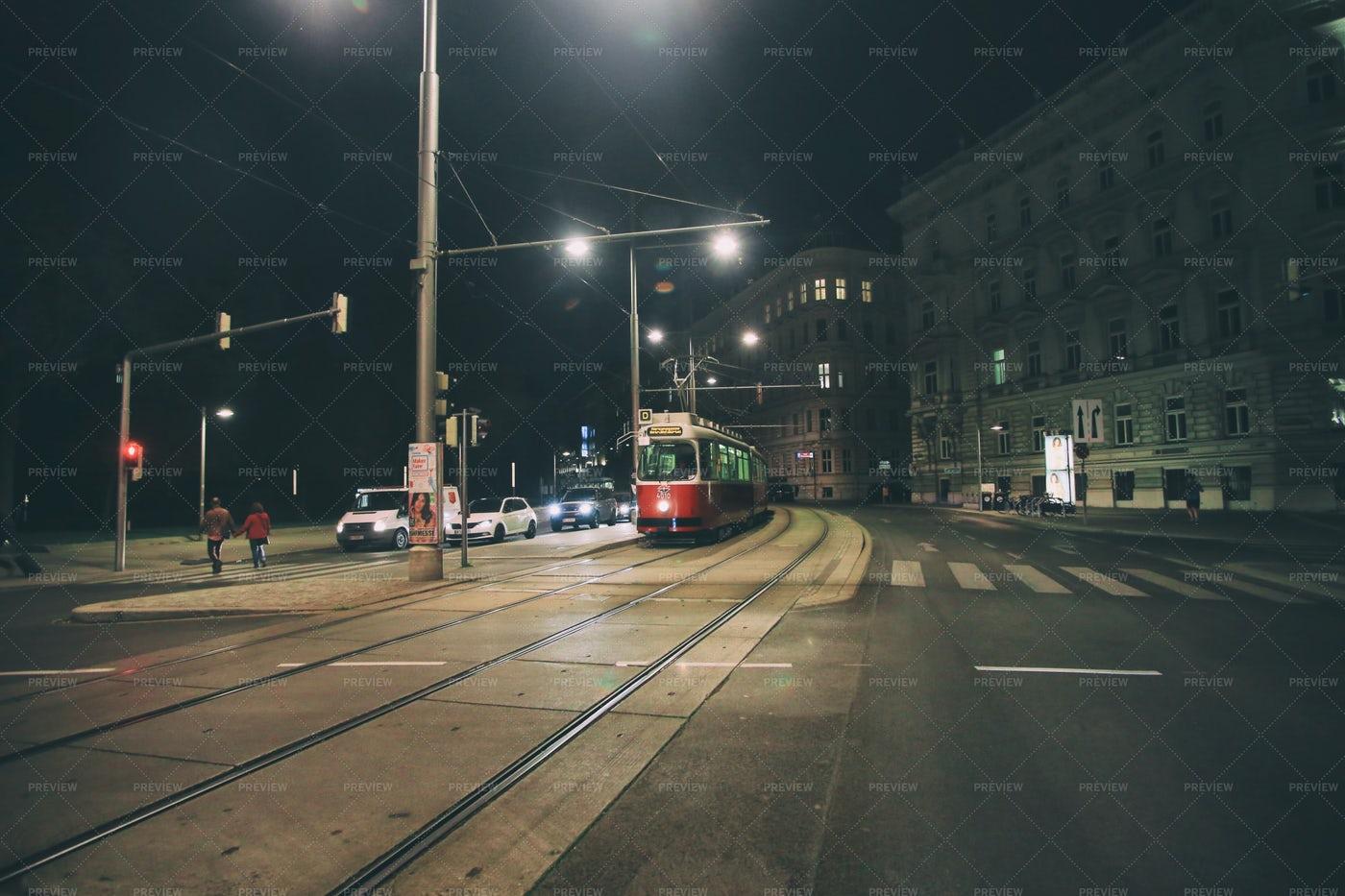 Night Tram In Vienna: Stock Photos