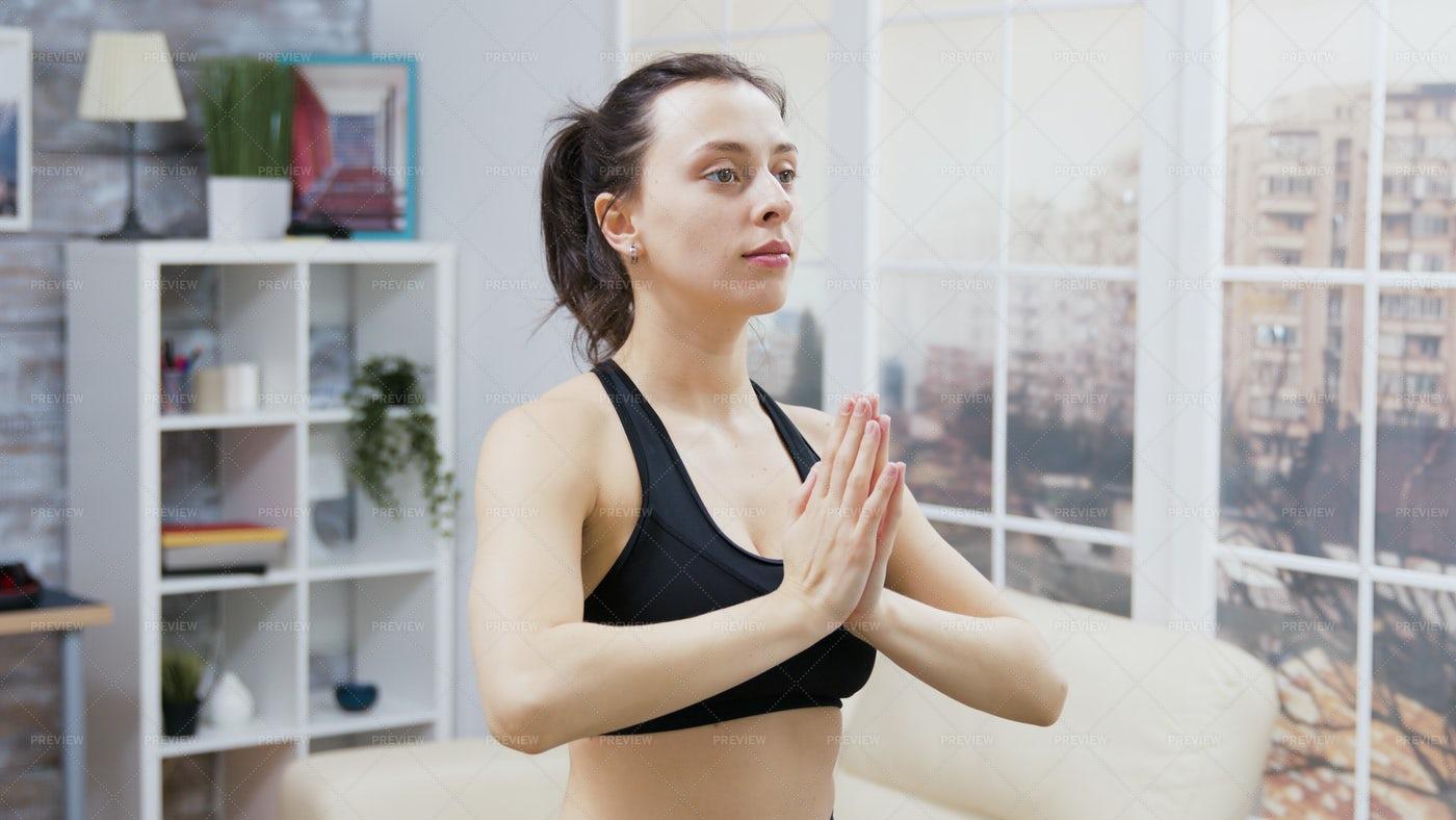Hands Together Yoga Pose: Stock Photos