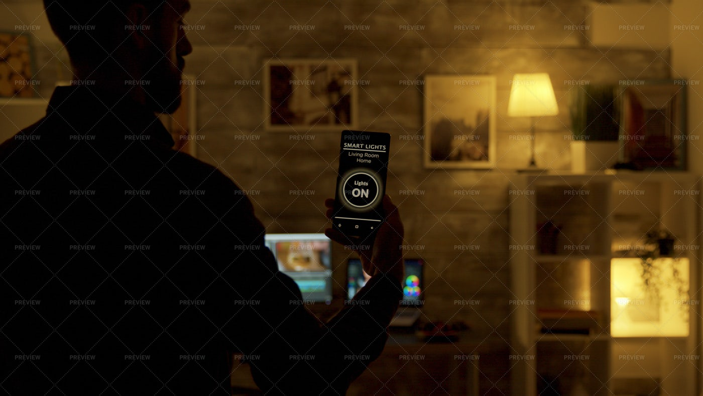 Phone App Dims The Lights: Stock Photos