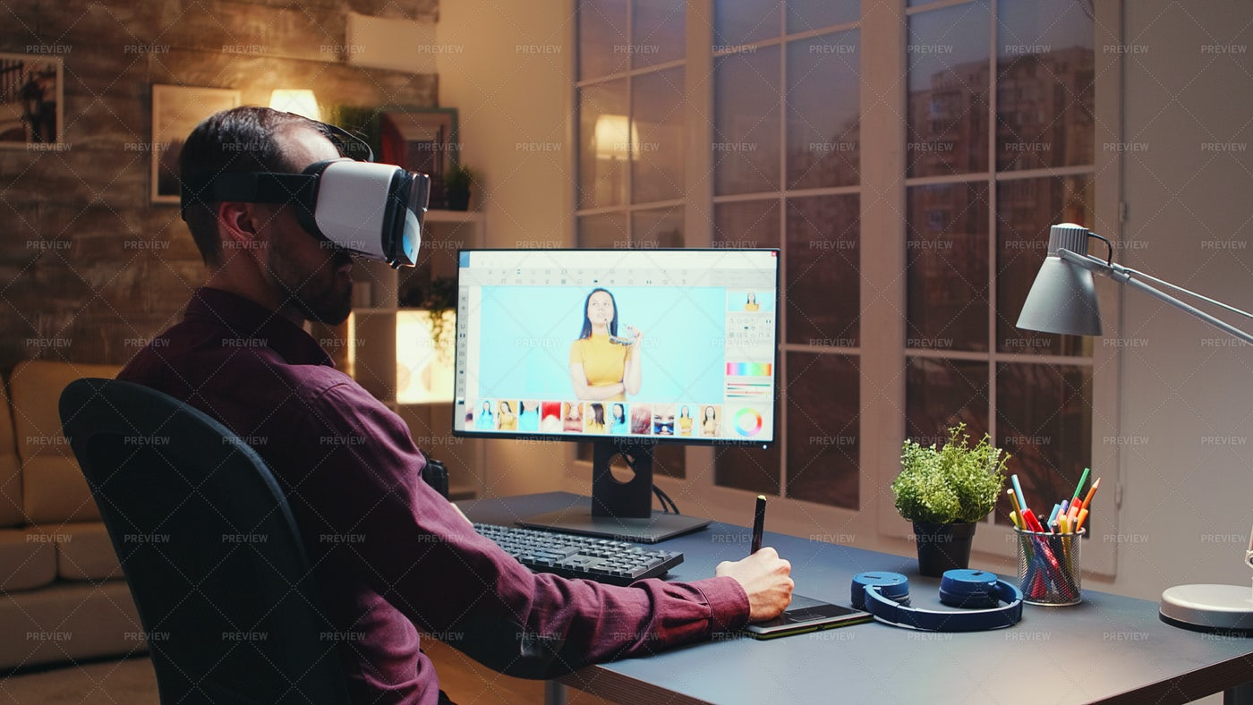 Photographer Editing With VR: Stock Photos
