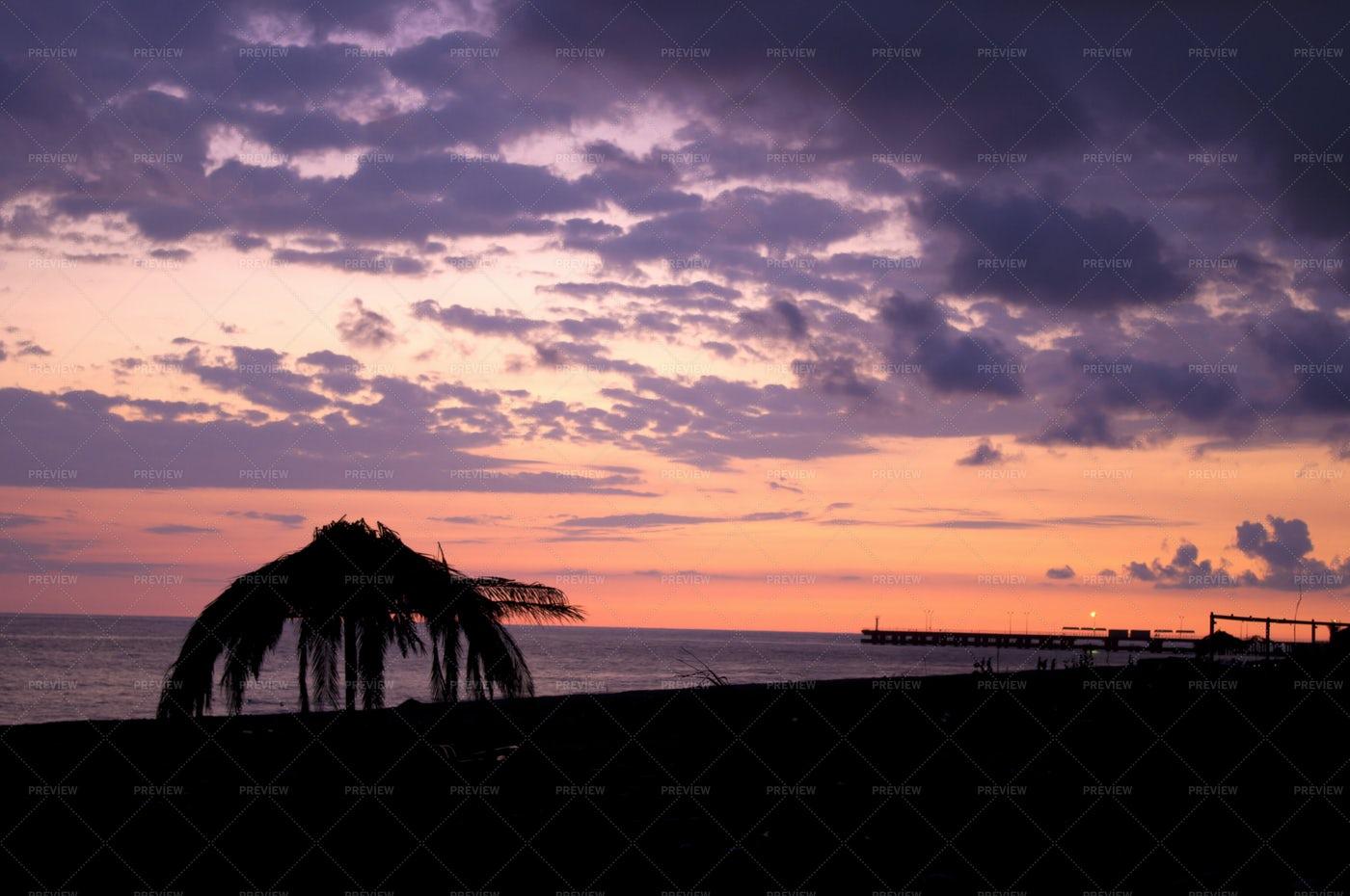 Pink And Orange Tropical Sunset: Stock Photos