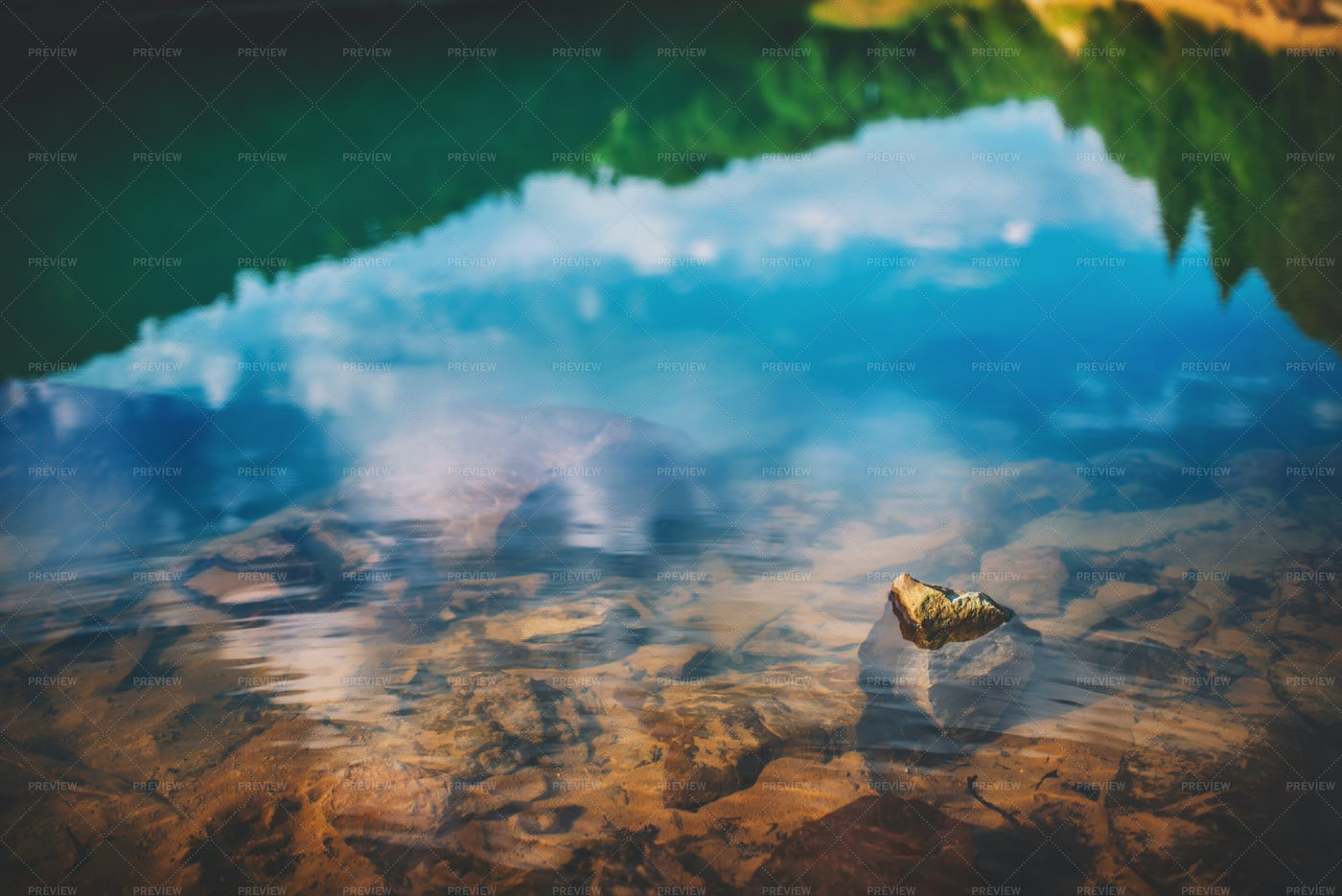 Reflections In The Mountain Lake: Stock Photos