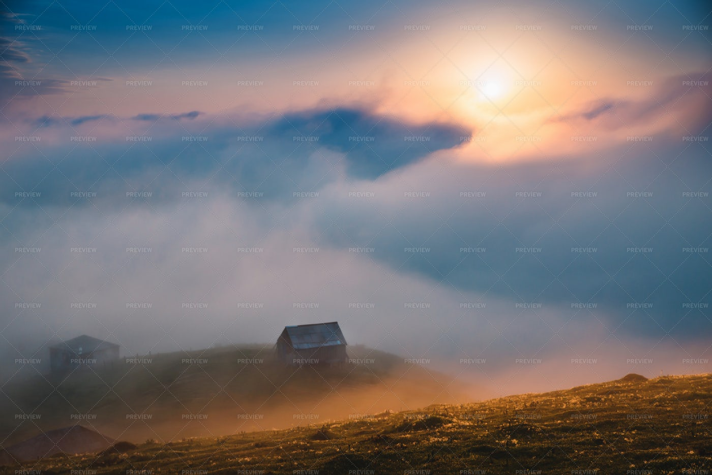 Fog, Clouds And Old House At Sunset: Stock Photos