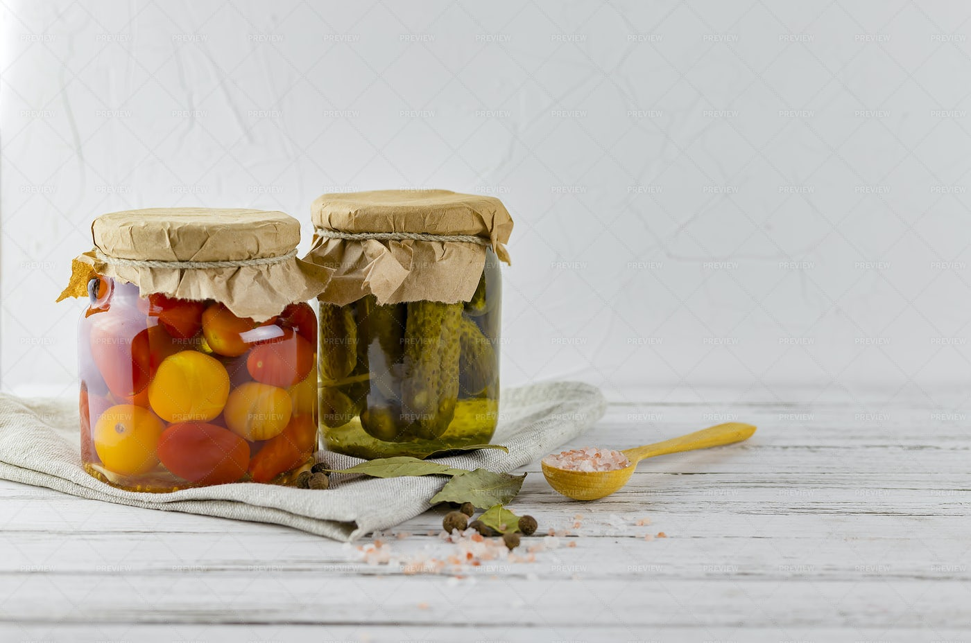 Fermented Cucumbers In Glass Jars: Stock Photos