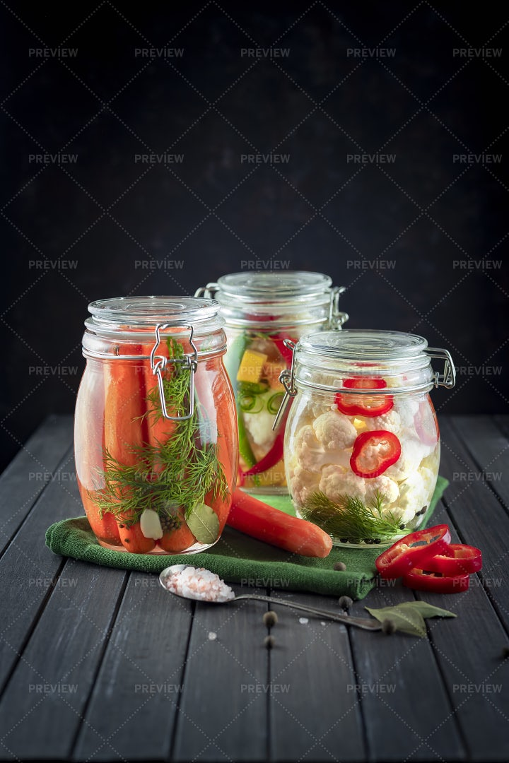Jars Of Fermented Vegetables: Stock Photos