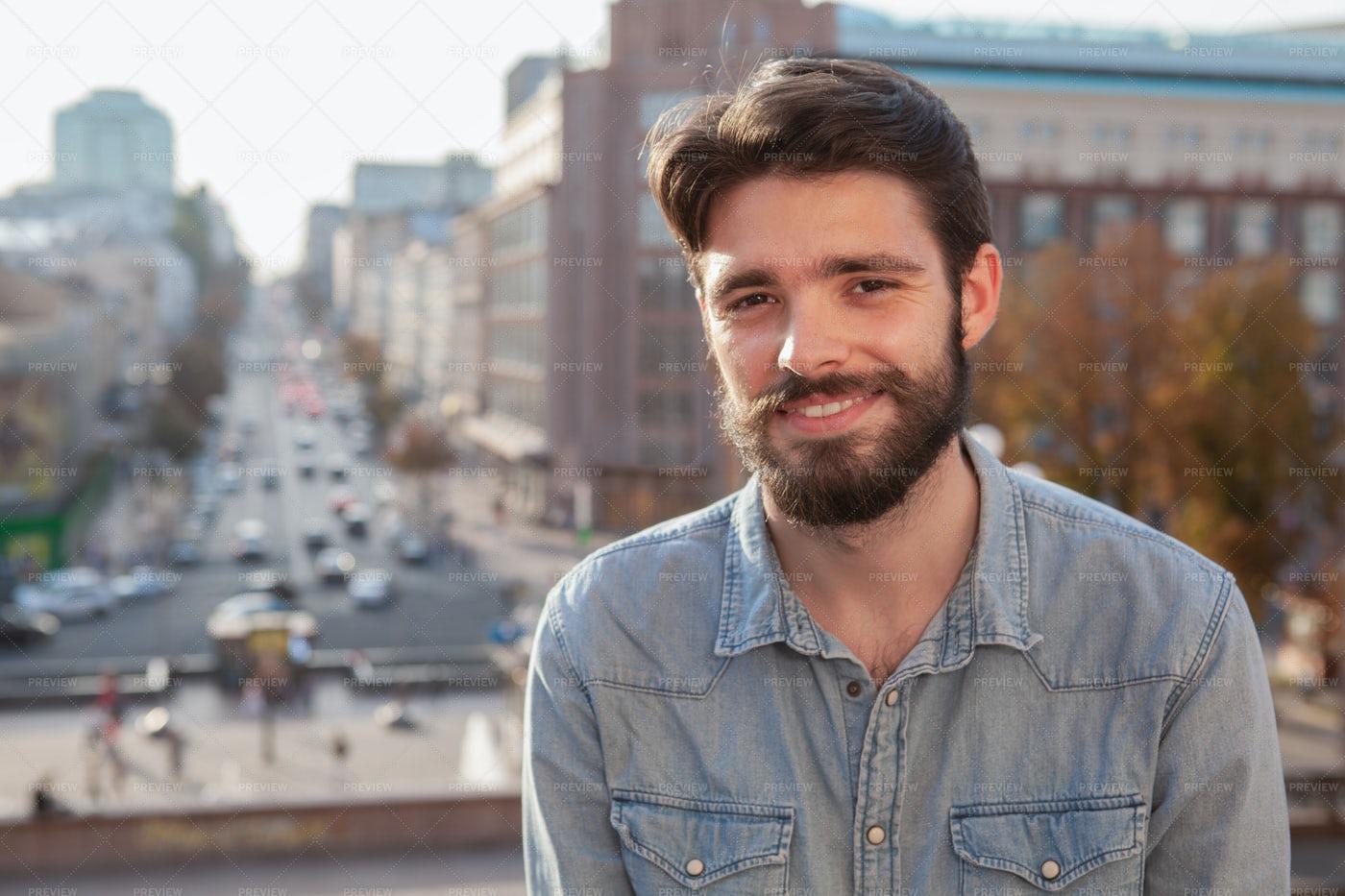 Bearded Man Enjoying Sunny Day: Stock Photos