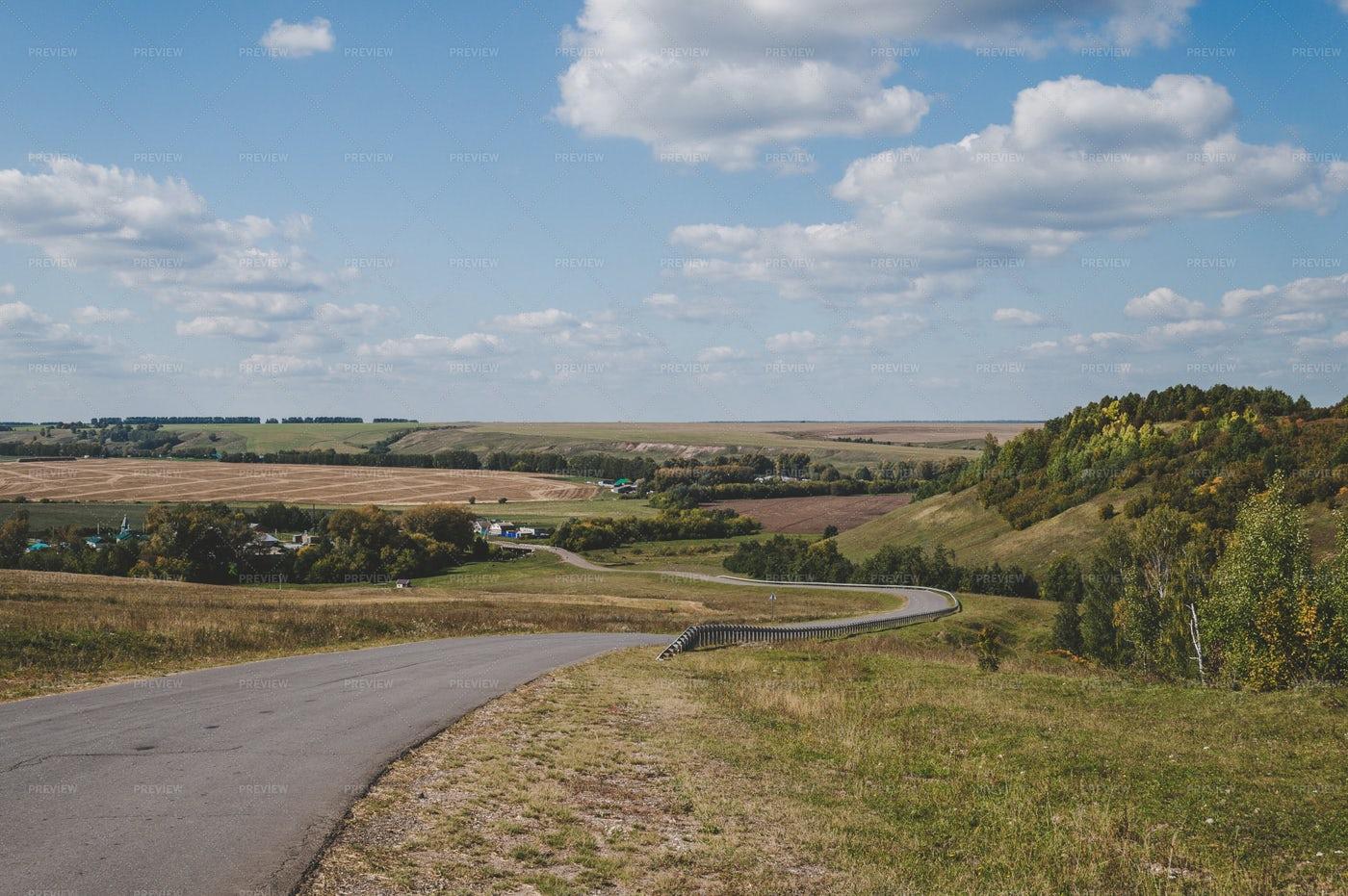 Narrow Road Through The Countryside: Stock Photos