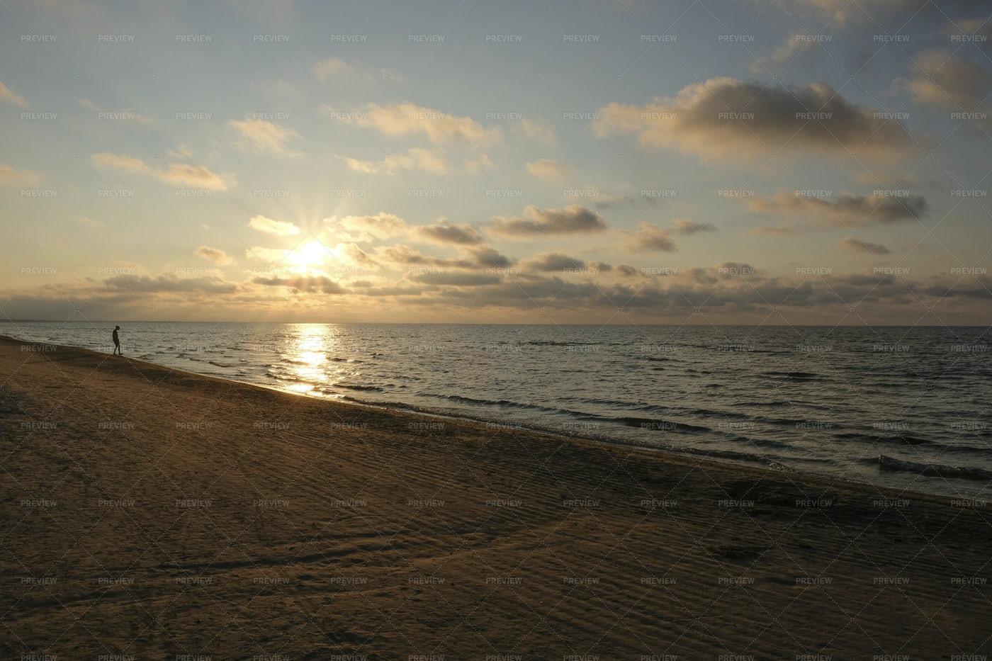 Beach At Sunset: Stock Photos