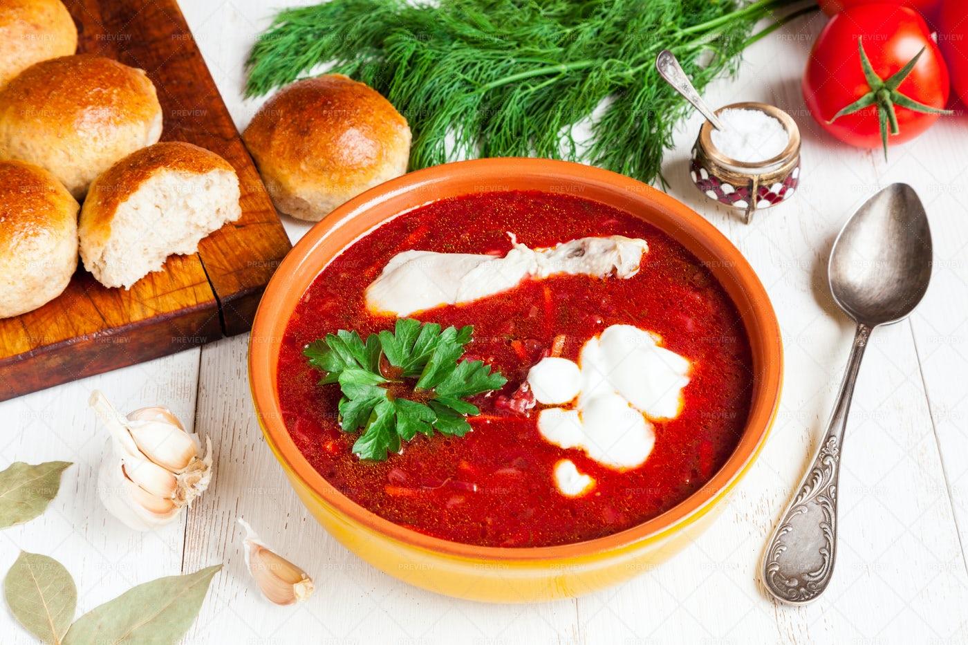 Homemade Beetroot Soup: Stock Photos