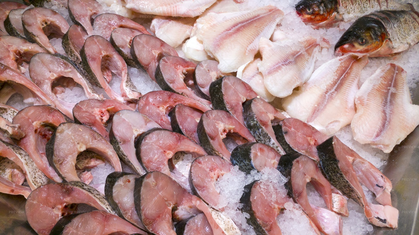 Sliced Fish On A Marketplace: Stock Photos